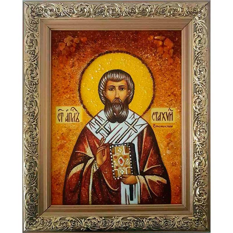 Авторская икона из янтаря Св. Апостол Стахий