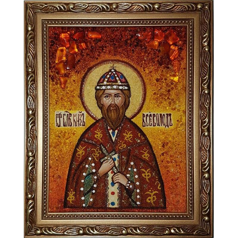 Икона именная в янтаре Св. князь Всеволод