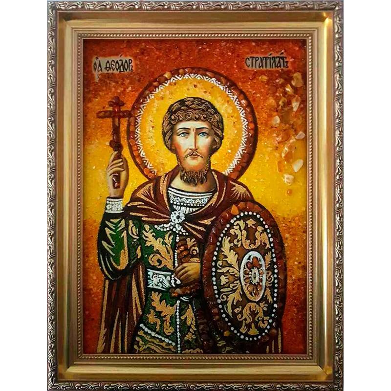 Икона именная из янтаря Св. Феодор Стратилат