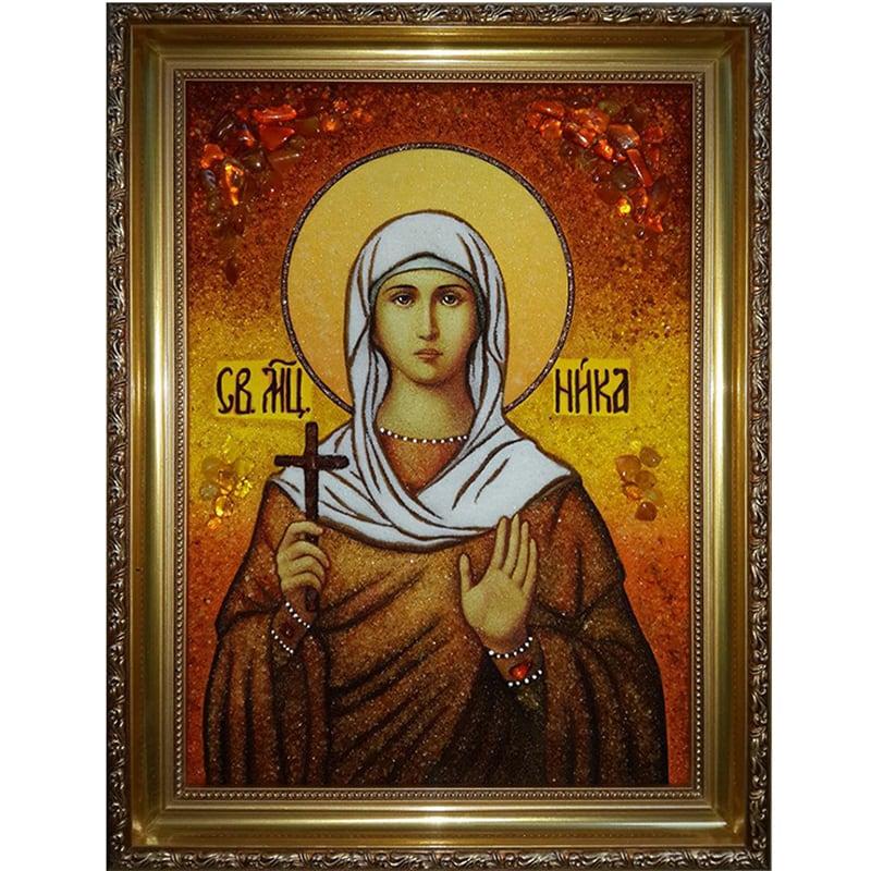 Именная икона из янтаря Св. Мученица Ника Коринфская