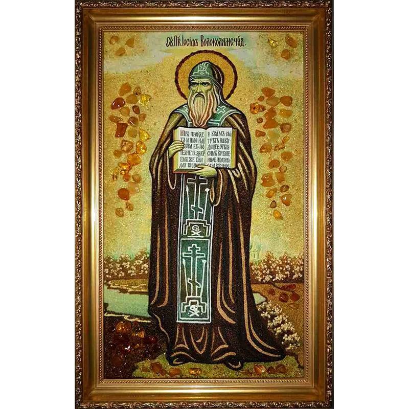 Именная икона в янтаре Св. Иосиф Волоколамский
