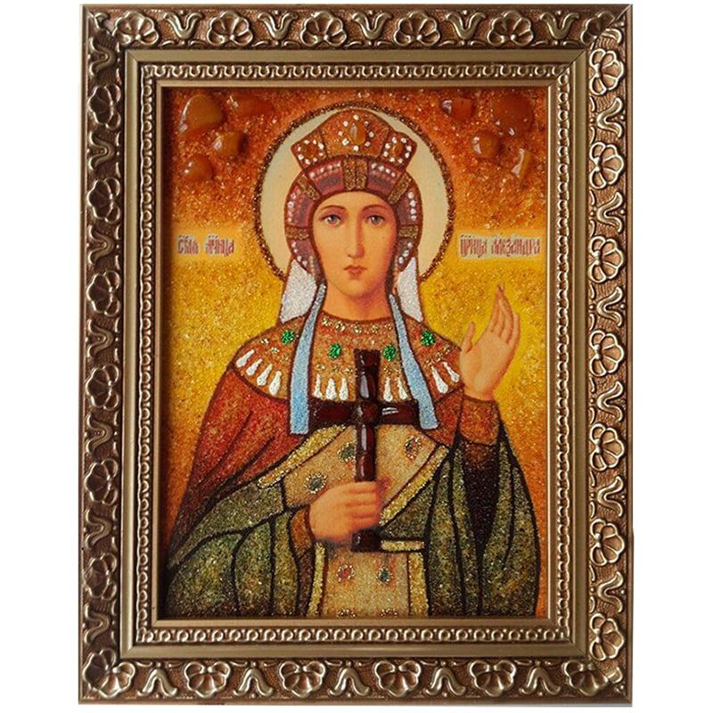 Икона в янтаре Преподобная Александра Дивеевская