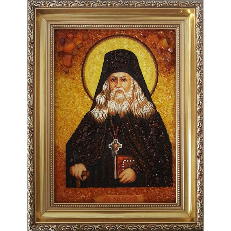 Икона именная из янтаря Преподобный Лев Оптинский