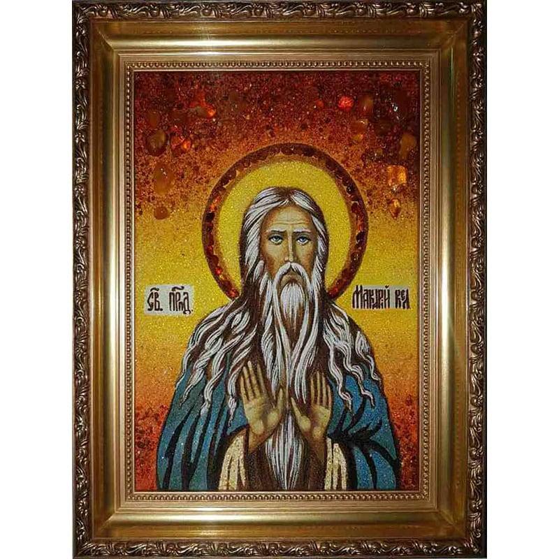 Икона из янтаря именная Преподобный Макарий