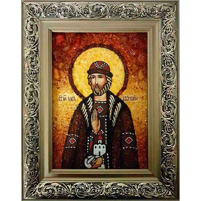 Икона именная в янтаре Святой Олег Брянский