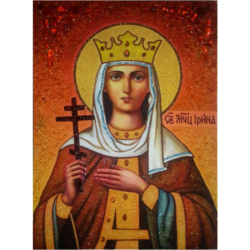 Именная икона в янтаре Св. Ирина Македонская