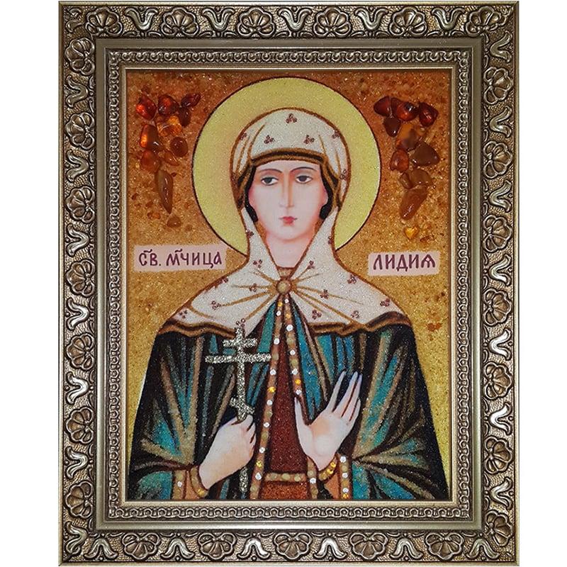 Ікона з бурштину ручної роботи Св. Лідія