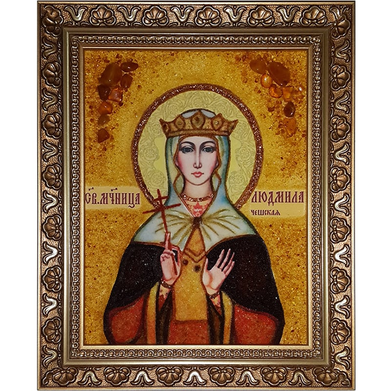 Икона именная из янтаря handmade Св. Людмила Чешская
