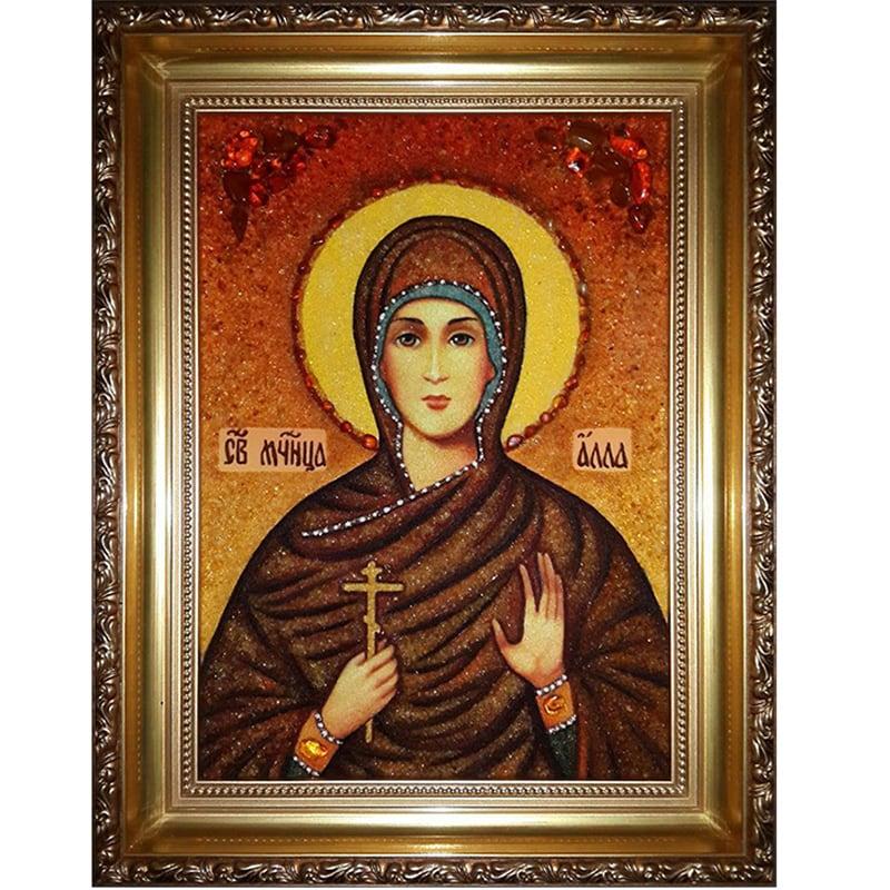 Икона в янтаре handmade Св. Алла Готфская
