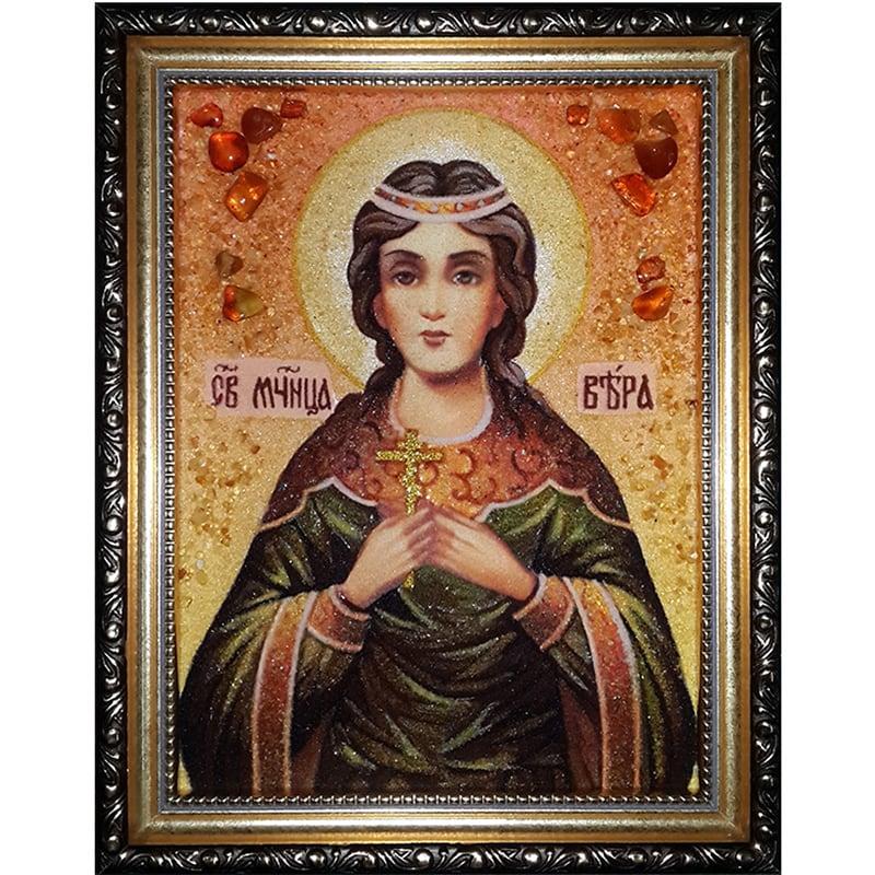Авторская именная икона из янтаря Св. Мученица Вера Римская