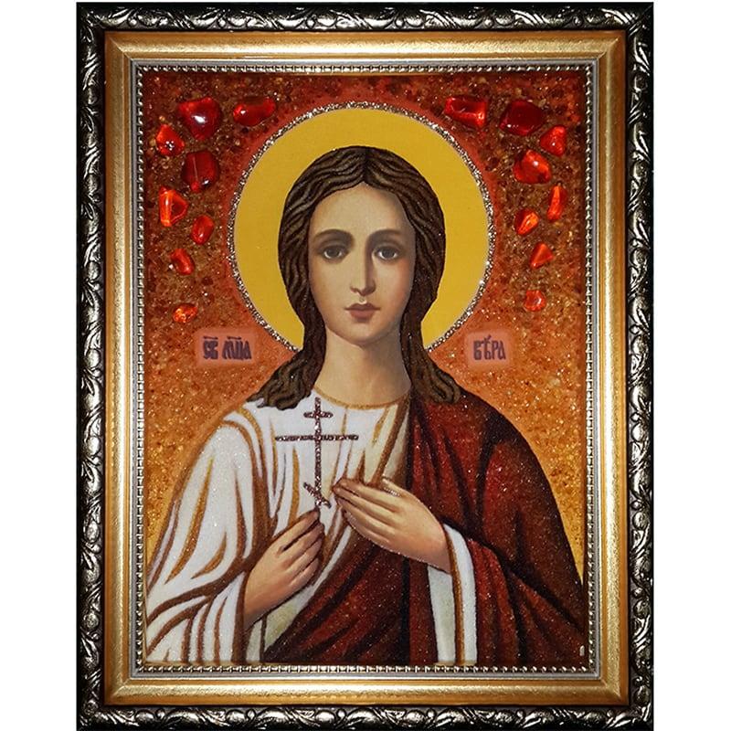 Именная икона из янтаря Св. Вера Римская
