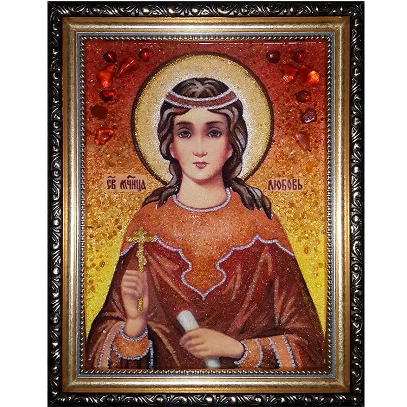 Икона именная из янтаря Св. Мученица Любовь Римская