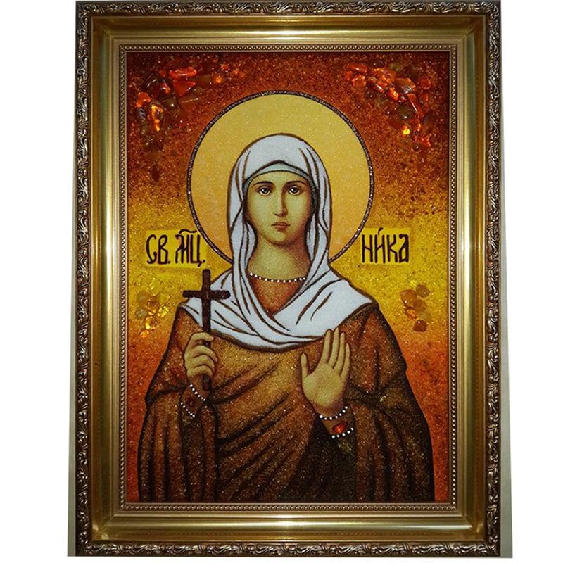 Икона в янтаре handmade Св. Ника Коринфская