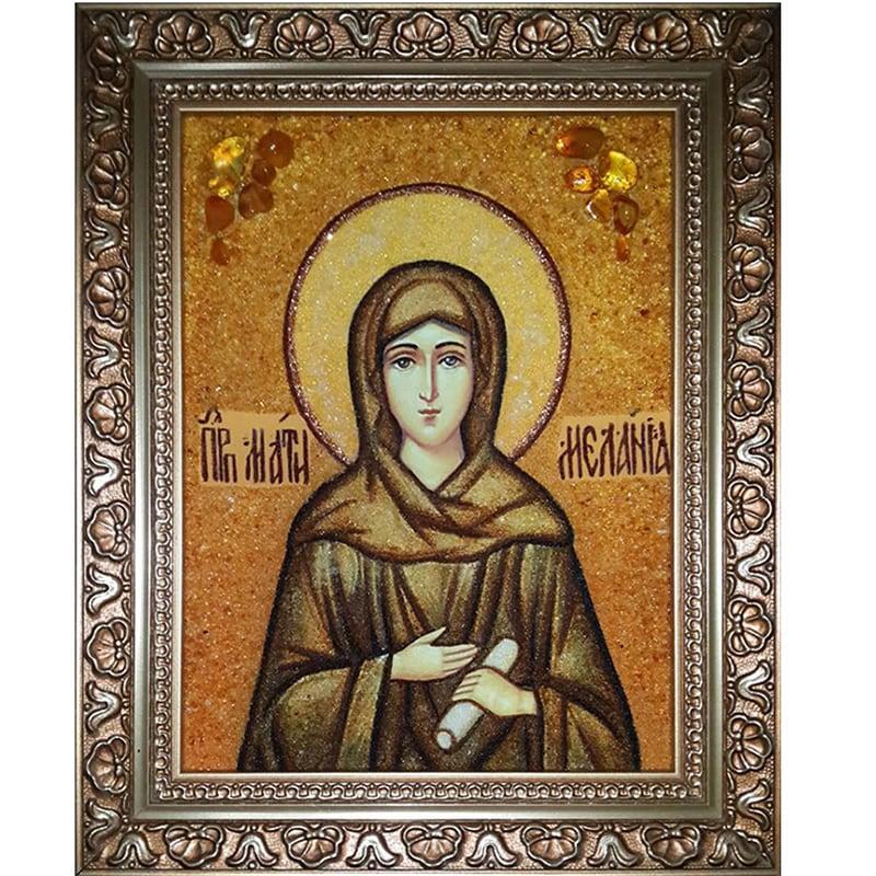 Именная икона в янтаре Св. Преподобная Мелания Римская