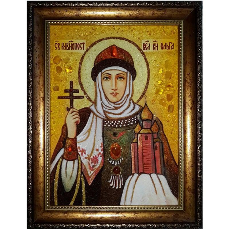 Именная икона из янтаря Св. Равноапостольная княгиня Ольга