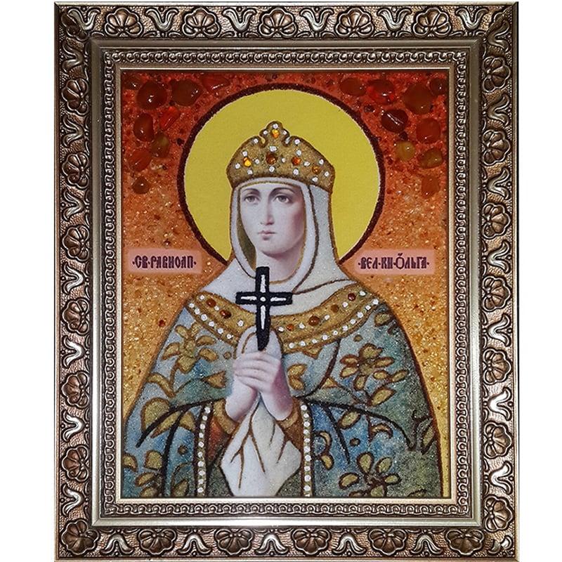 Икона из янтаря handmade Св. Равноапостольная Великая княгиня Ольга