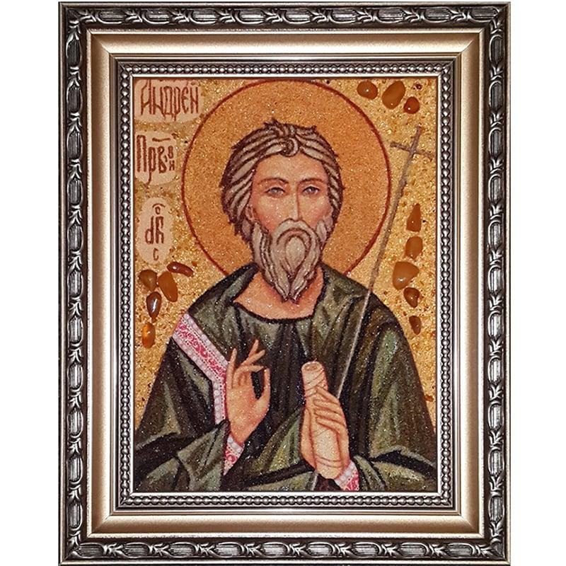 Икона из янтаря в подарок именная Св. Апостол Андрей Первозванный
