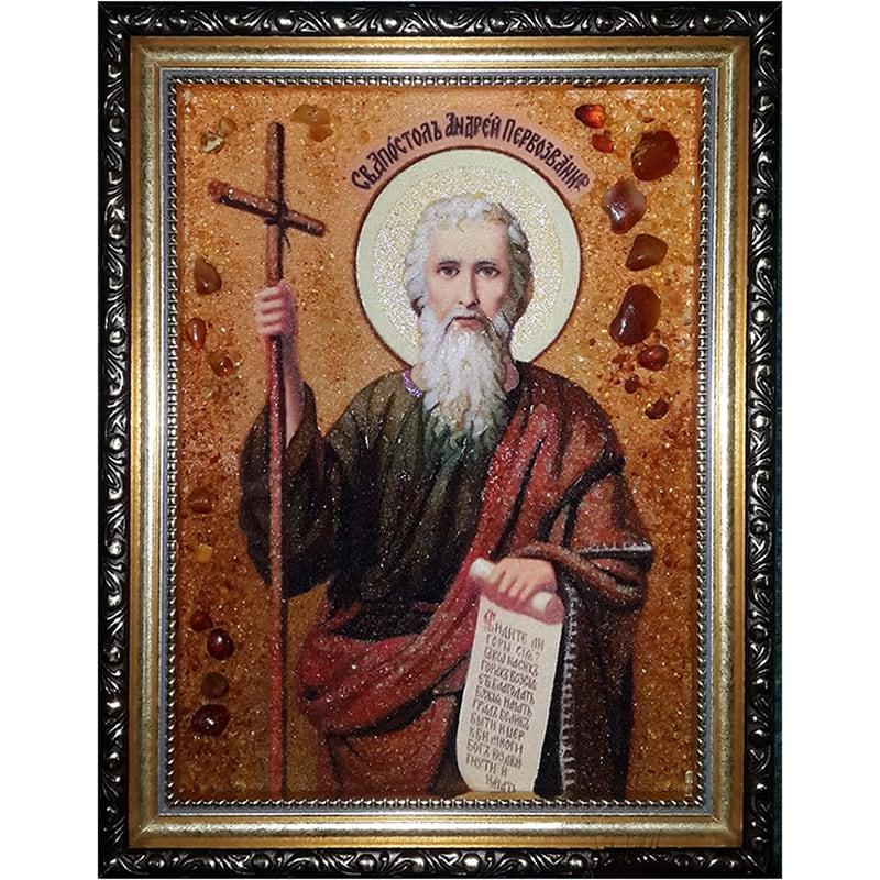 Икона именная из янтаря Св. апостол Андрей Первозванный