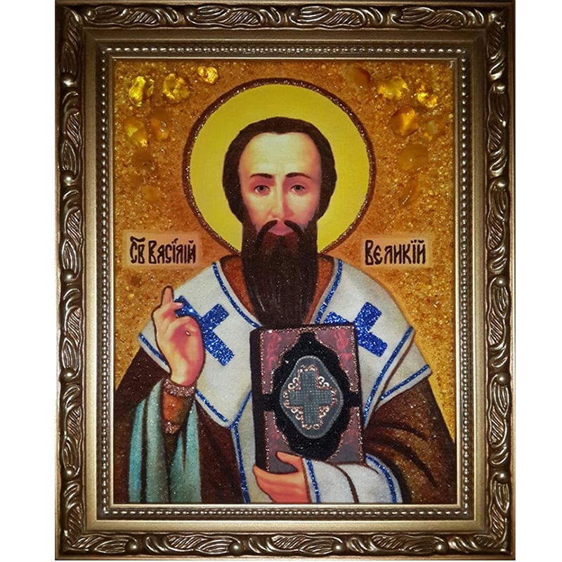 Именная икона из янтаря Св. Василий Великий