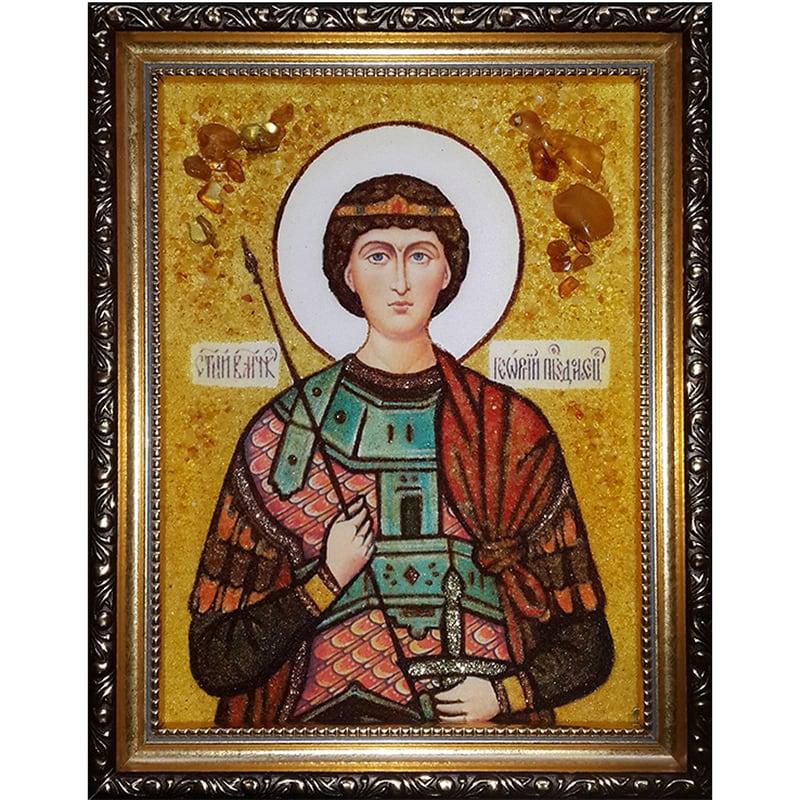 Ікона в бурштині Св. Великомученик Георгій Побідоносець