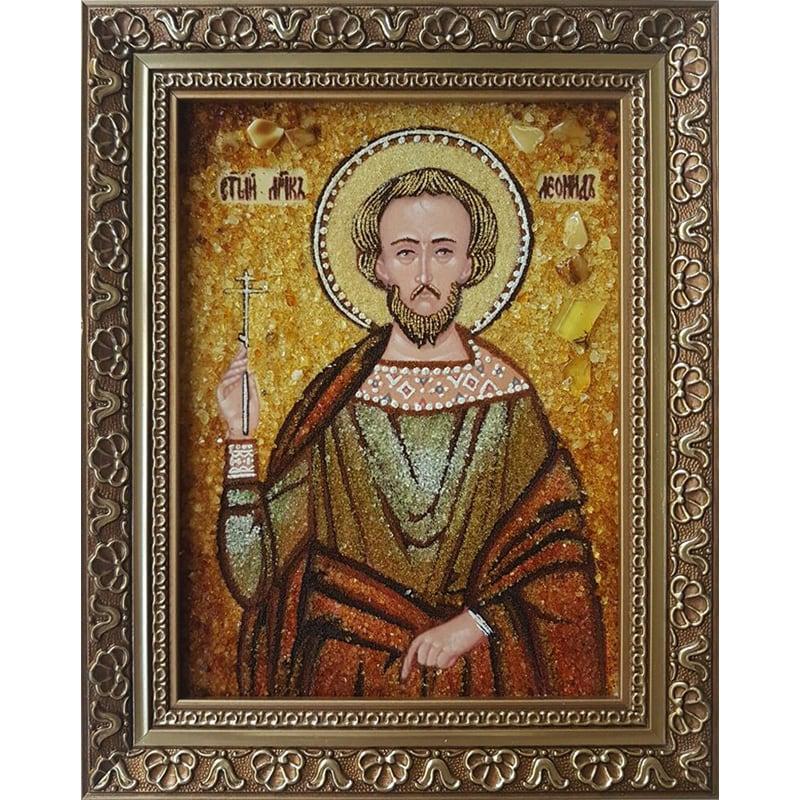 Именная икона в янтаре Св. Мученик Леонид