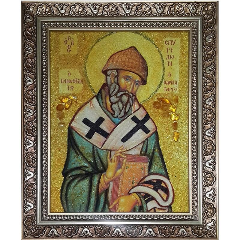 Авторська іменна ікона в бурштині Св. Спиридон Триміфунтський