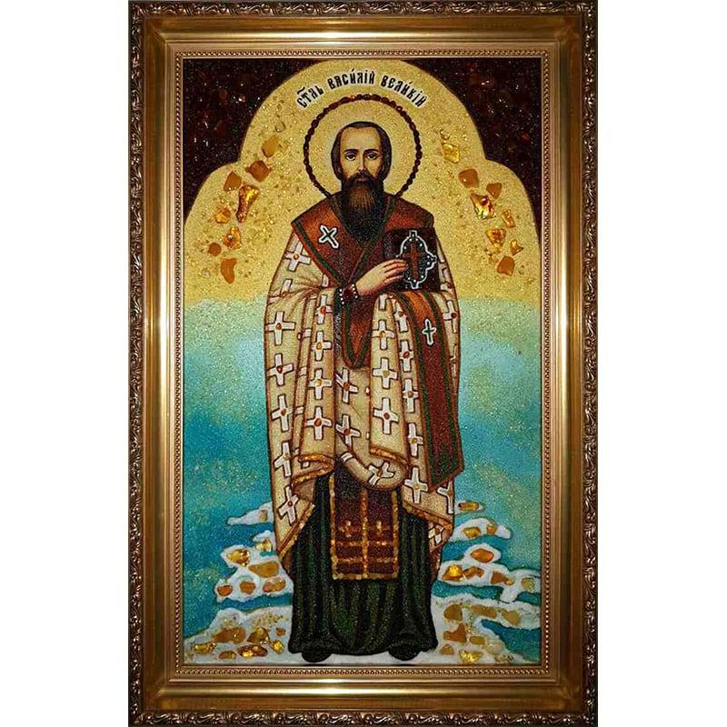 Икона из янтаря именная Св. Василий Великий