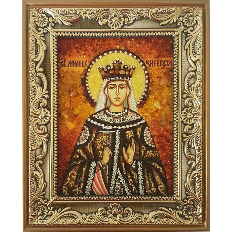 Икона в янтаре именная Святая Милица Сербская