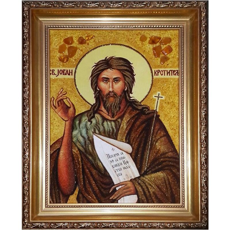 Авторская икона в янтаре Святой Иван Креститель