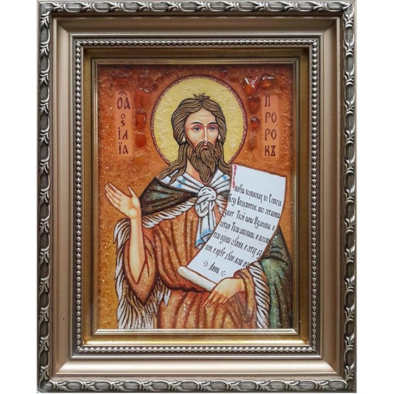 Именная икона в янтаре Святой Илья