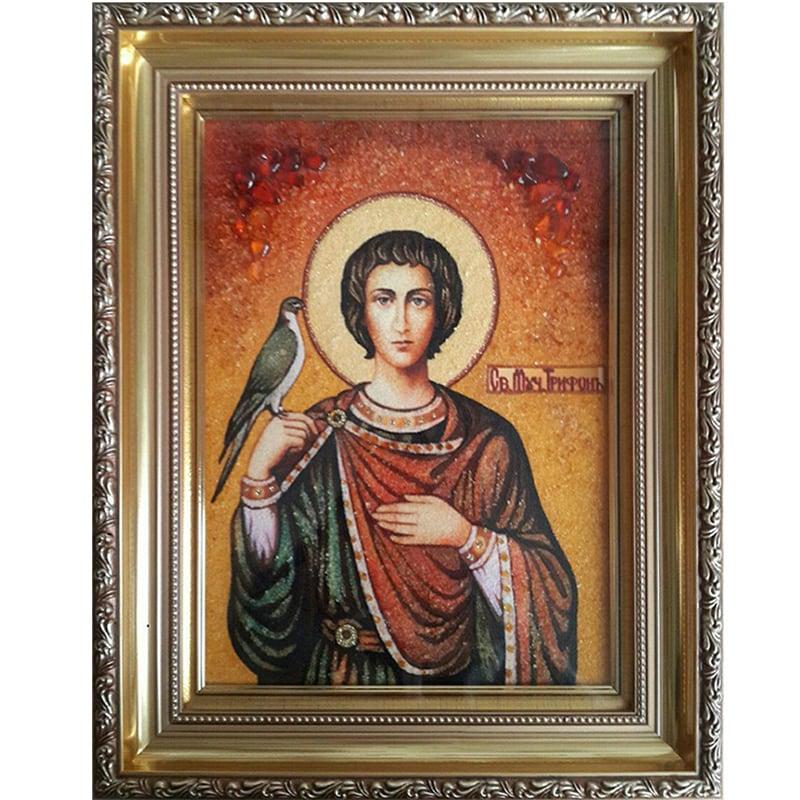 Именная икона из янтаря Святой Трифон