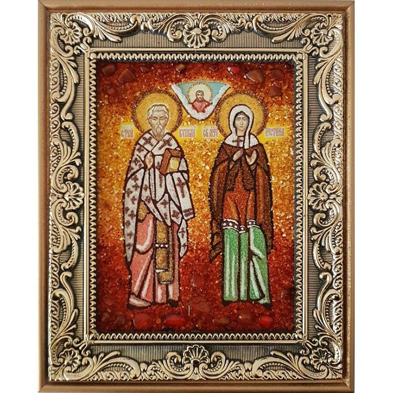 Икона handmade именная из янтаря Св. Киприан и Иустина