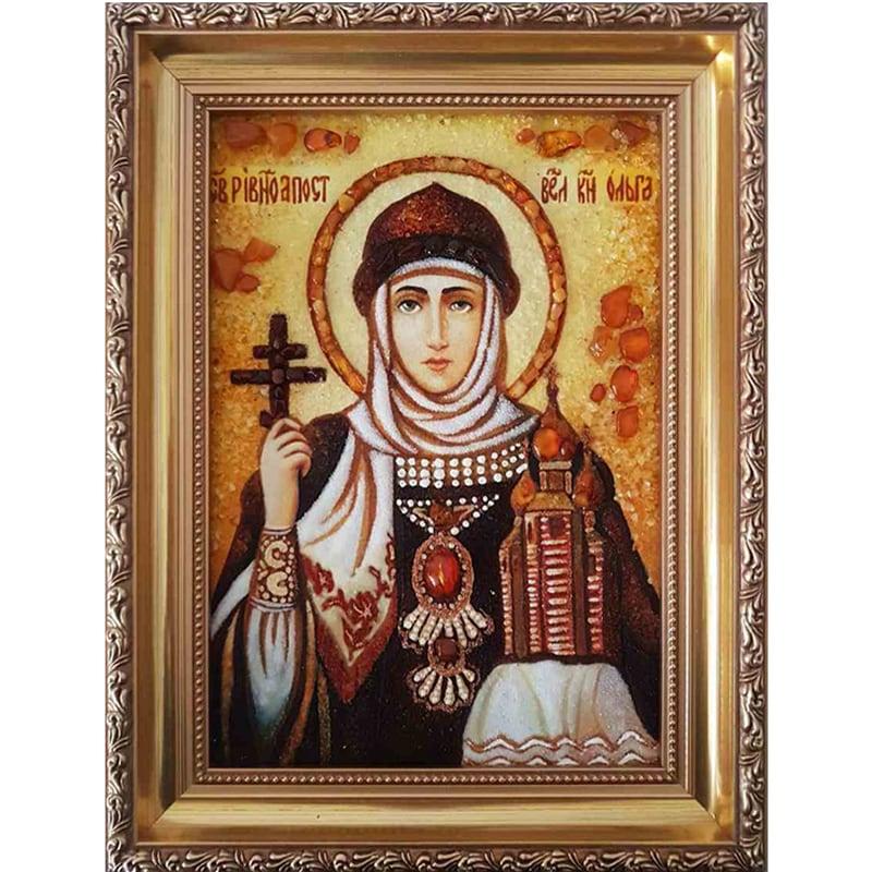 Икона handmade именная в янтаре Святая Ольга