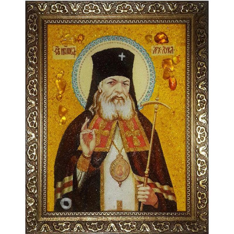 Ікона handmade в бурштині Архієпископ Лука Кримський