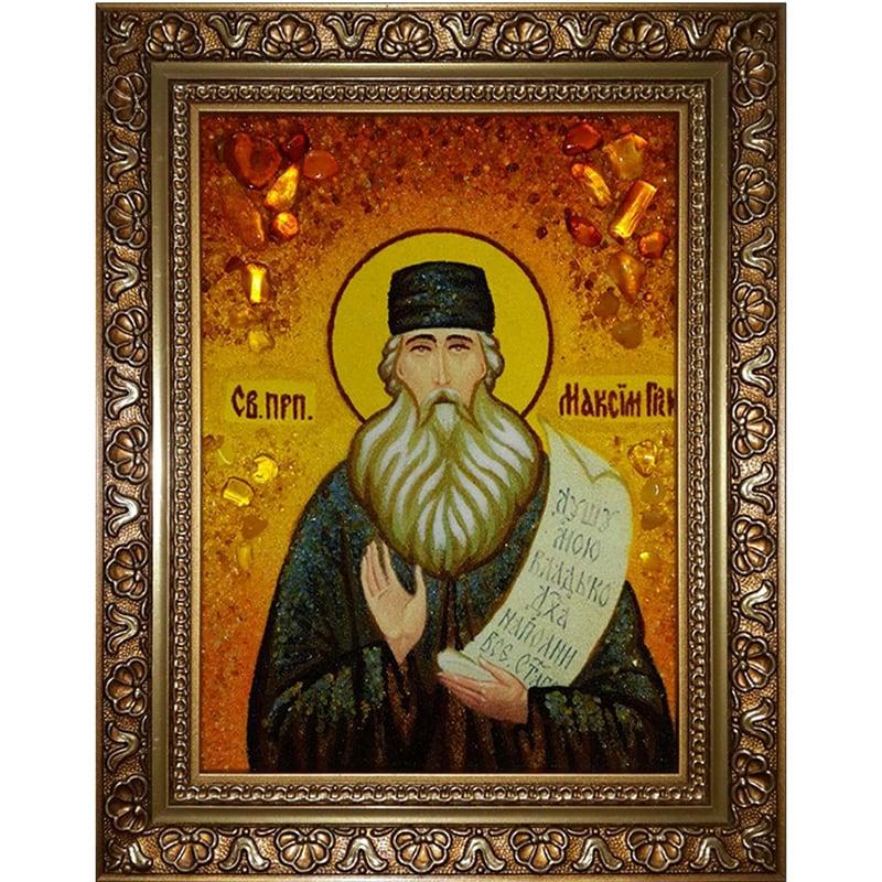 Именная икона из янтаря Святой Максим