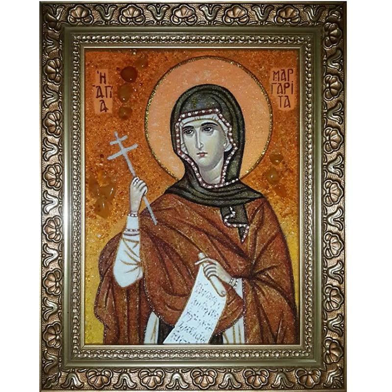 Именная икона в янтаре Святая Маргарита