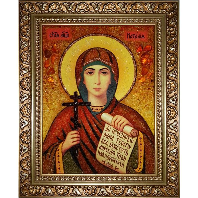 Икона ручной работы в янтаре Святая Наталья