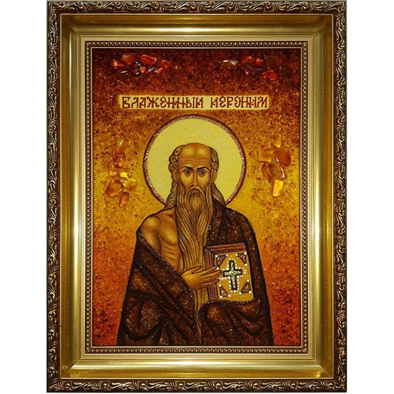 Ікона handmade з бурштину Св. Нероним