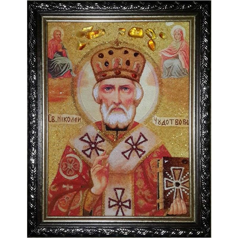 Икона handmade в янтаре Святой Николай