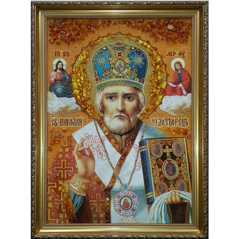 Именная икона из янтаря Святой Николай