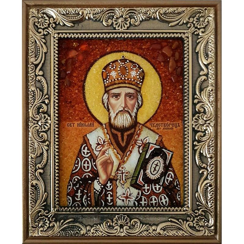 Икона handmade из янтаря Святой Николай