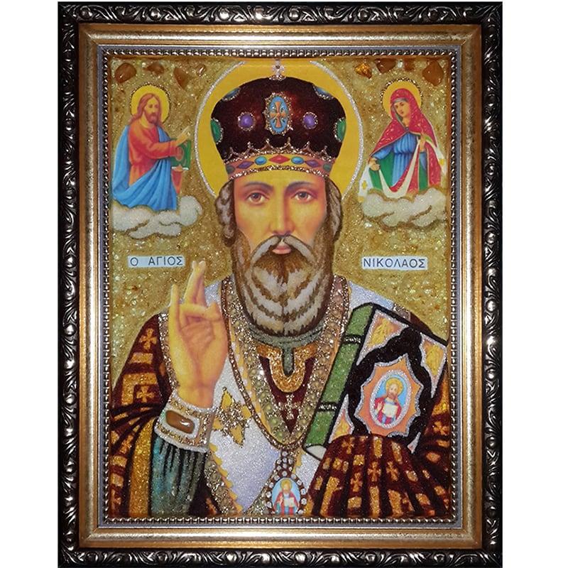 Икона handmade в янтаре Святой Николай Чудотворец