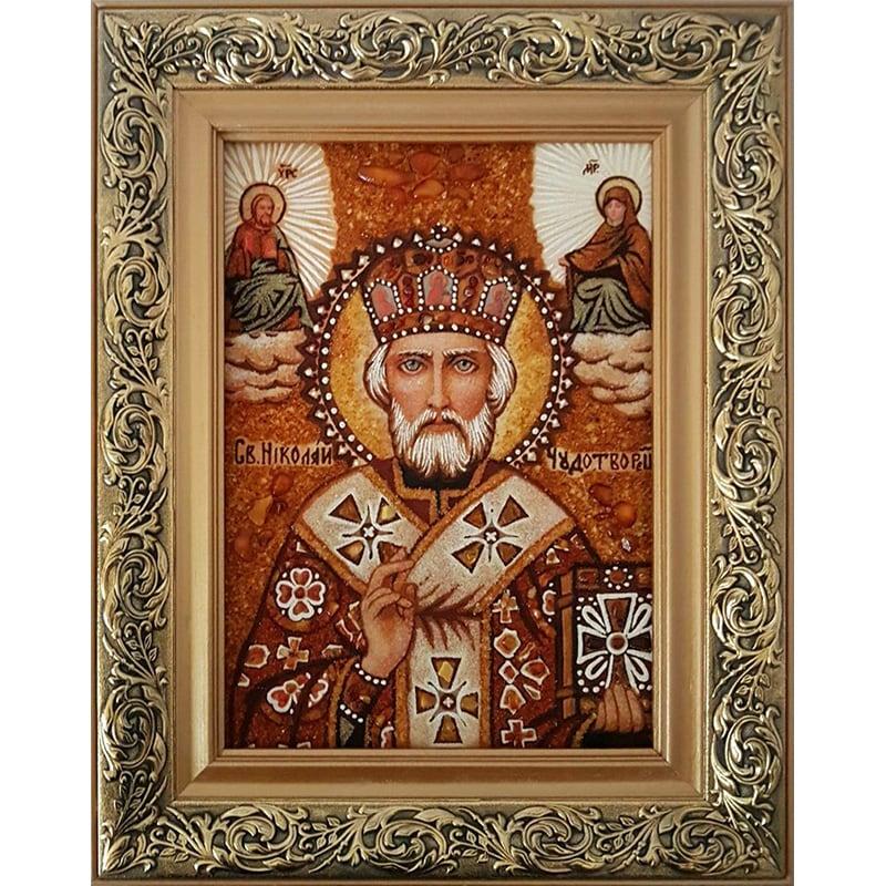 Ікона ручної роботи з бурштину Миколай Чудотворець