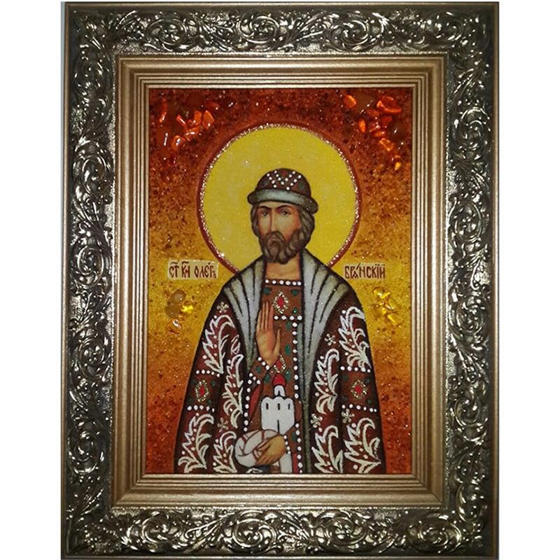 Икона ручной работы в янтаре Святой Олег