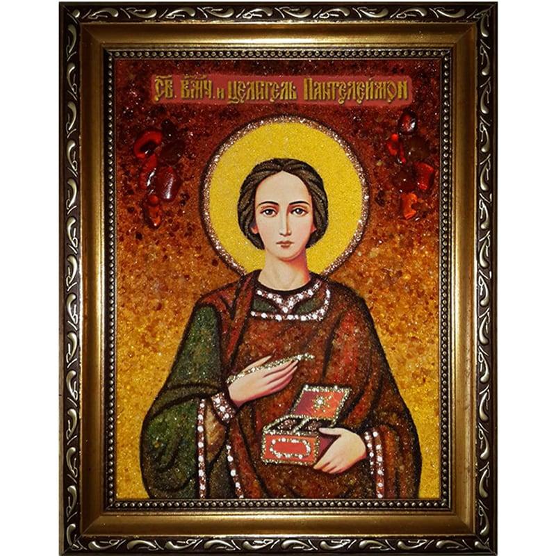 Именная икона handmade в янтаре Святой Пантелеймон