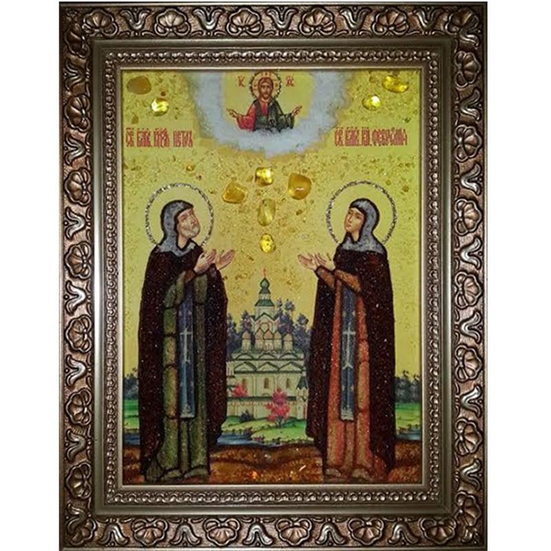 Икона именная ручной работы Петр и Феврония