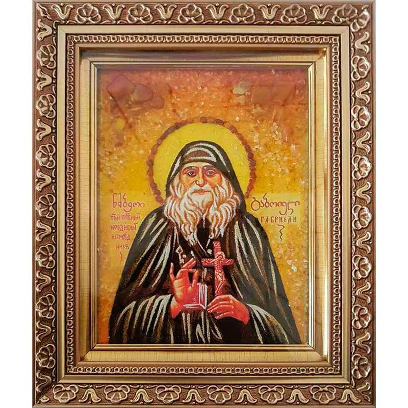 Икона на заказ именная из янтаря Преподобный Гавриели