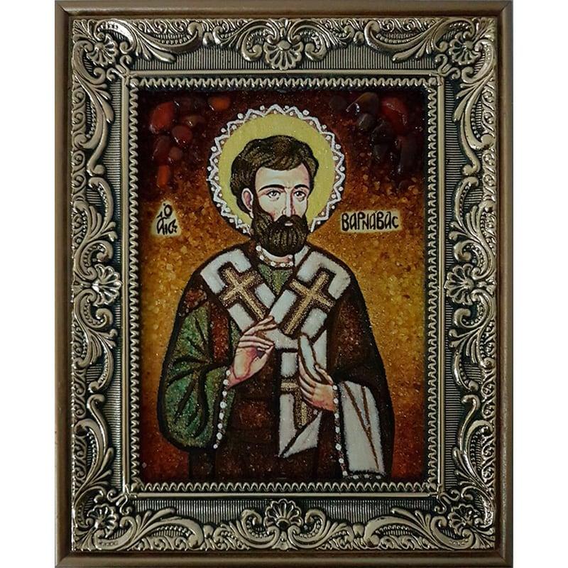 Икона на заказ именная в янтаре Преподобный Варнава