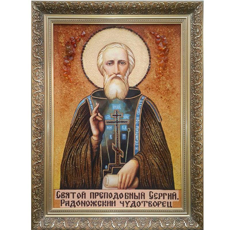 Авторская икона из янтаря Преподобный Сергий Радонежский