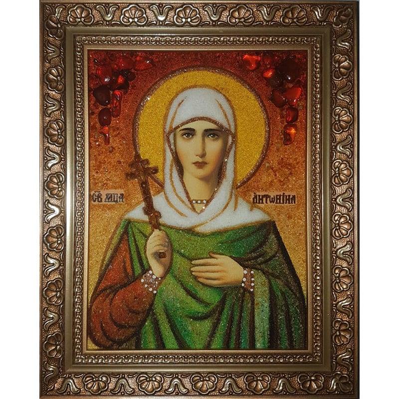 Авторская икона в янтаре Св. Антонина Никейская